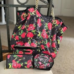 Betsey Johnson shoulder bag and accessories